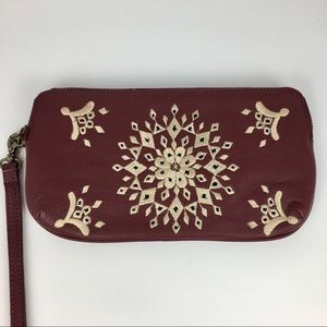 Lucky Brand Maroon Embroidered Wallet